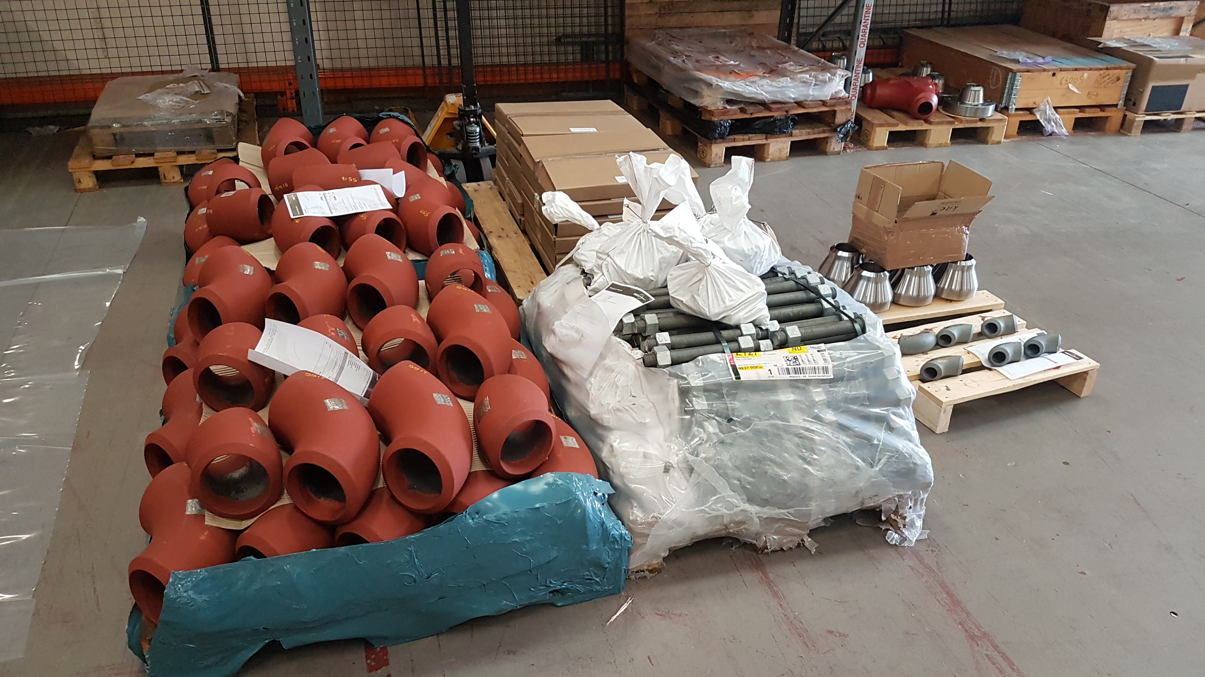 Fittings ready for dispatch for wellhead piping project
