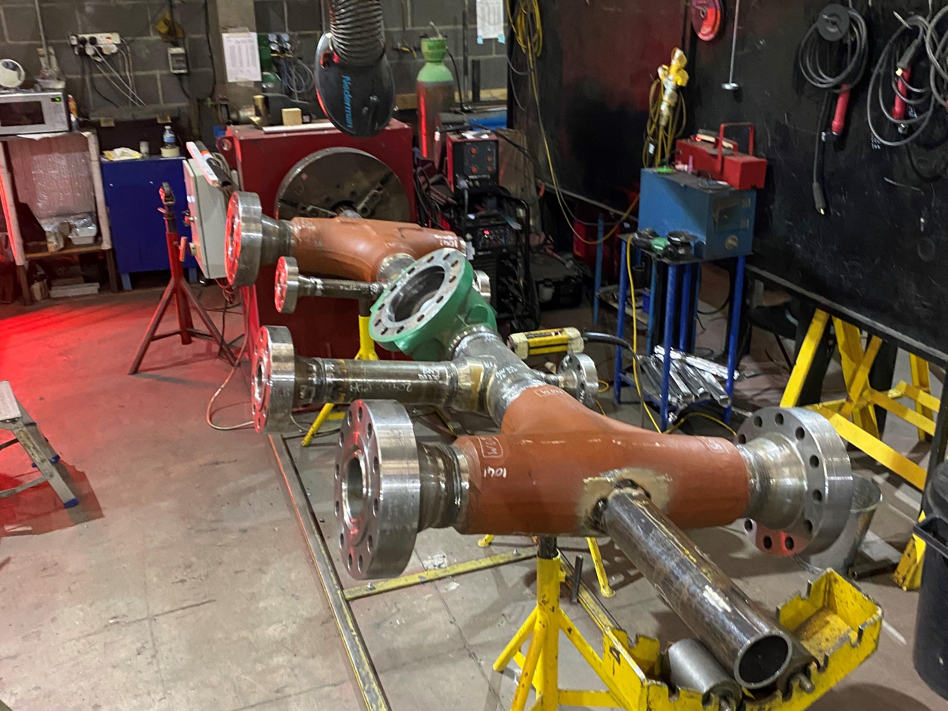 spool fabrication set up