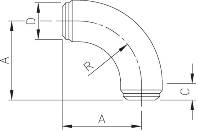 Long Sweep 90 Dimensional Drawing
