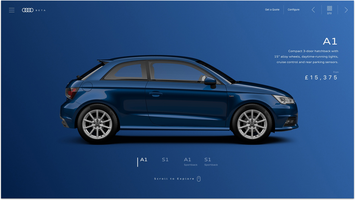 A car model page on Audi Beta website – showing a blue Audi A1 on a blue background