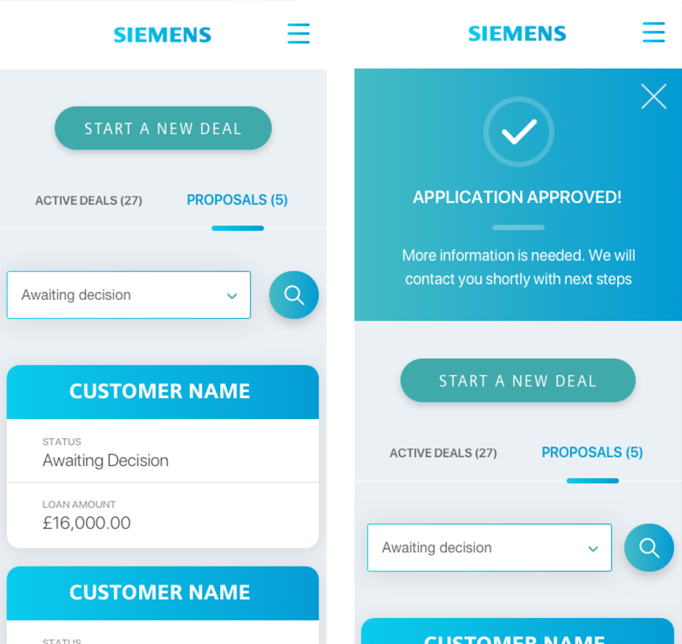 Two mobile screens showcasing MySFS – Siemens Financial Services calculator designed and built by Somo