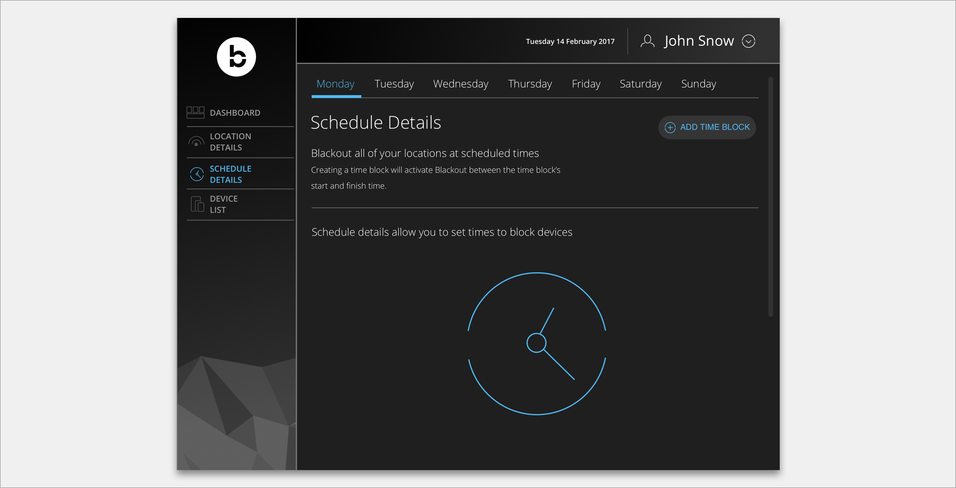 Screenshot from Blackout Technologies web interface