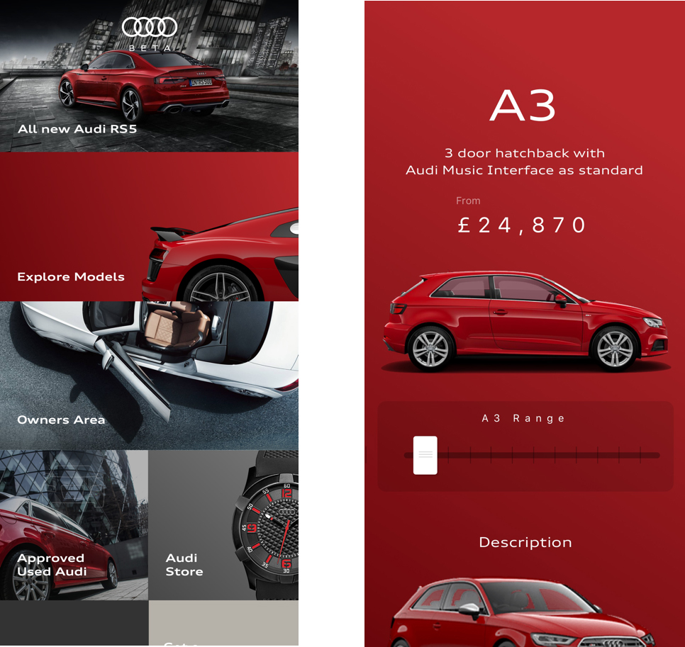 Two mobile screens showcasing Somo's work for Audi UK