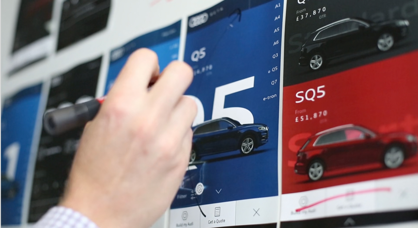 A hand drawing on the printed Audi Homepage designs