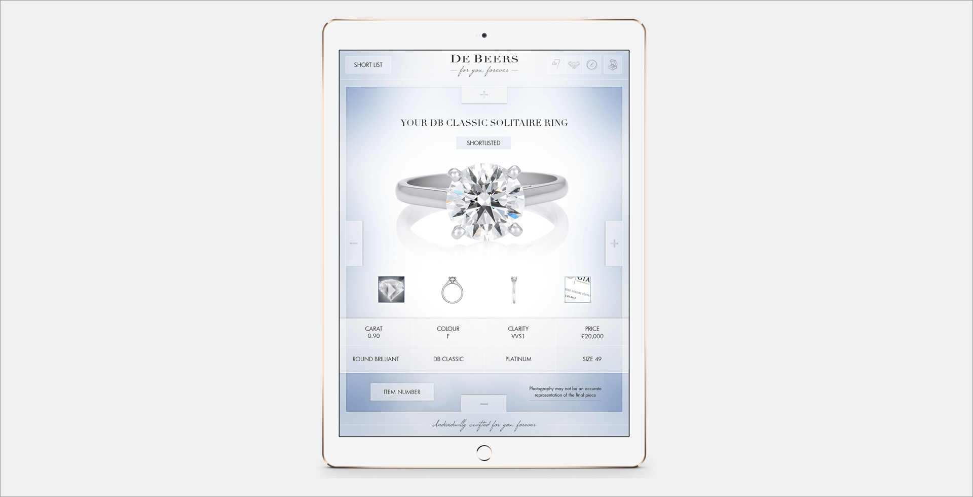 iPad screenshot of De Beers website