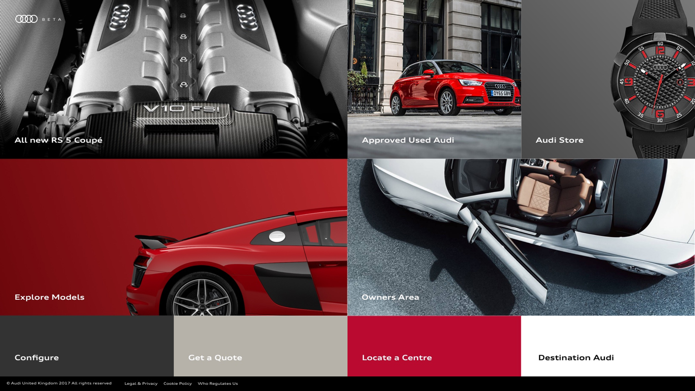 Audi Beta homepage screen