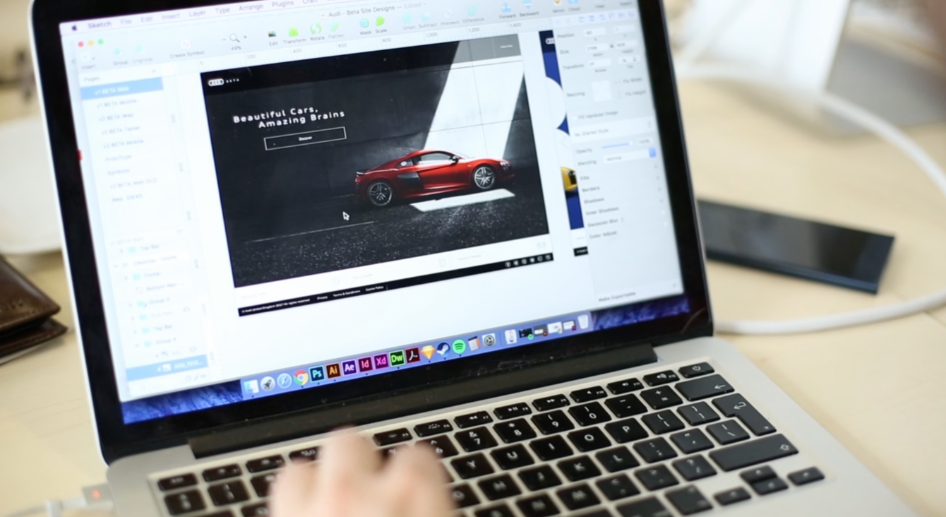 A laptop showing Audi Beta website