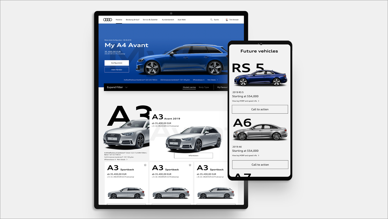 Audi of America Explore Models page – tablet and mobile view