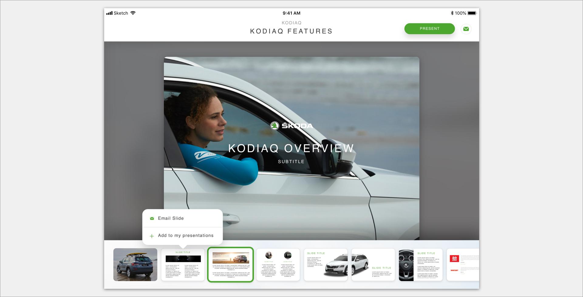 Screenshot of Škoda Kodiaq overview website page