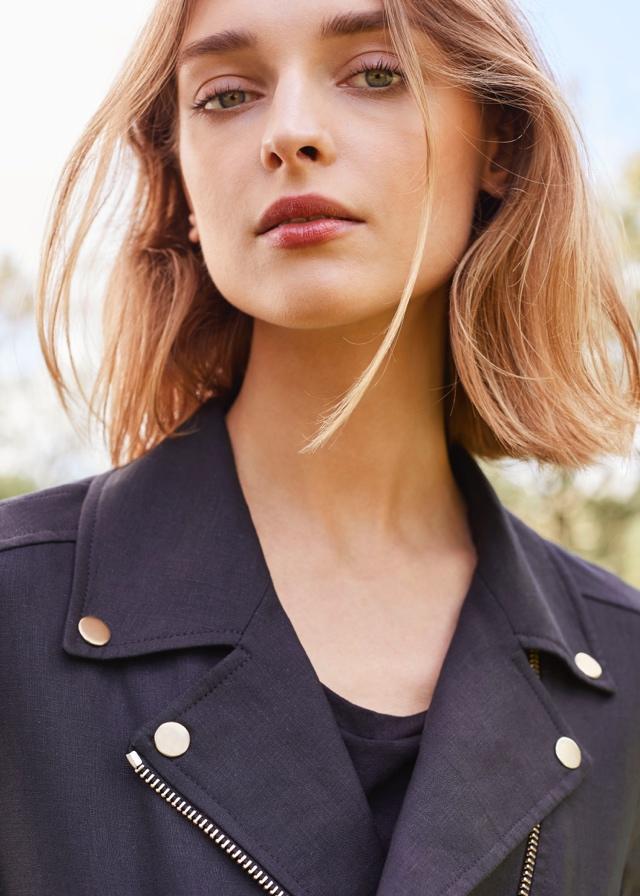 656631ad69 Woman wearing Black Cuyana Linen Moto Jacket