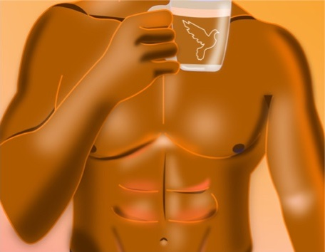 Drawing of a shirtless male torso holding a cup of coffee.