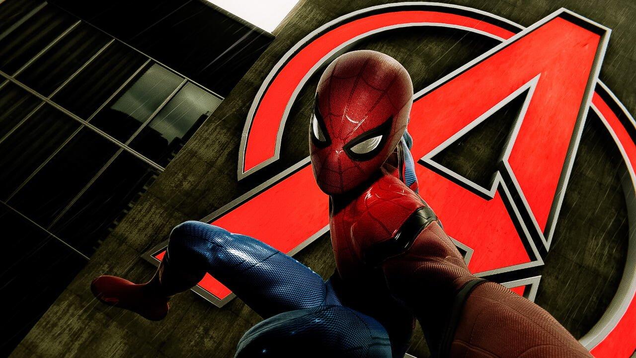 アベンジャーズタワーで自撮りするスパイダーマン