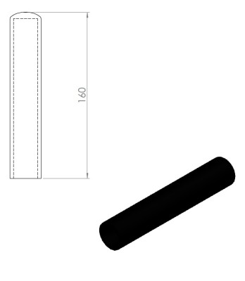 05258 – Rubber handle for Nordic Gym machines. 160mm – Nordic Gym