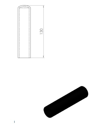 05257 – Rubber handle for Nordic Gym machines. 130mm – Nordic Gym
