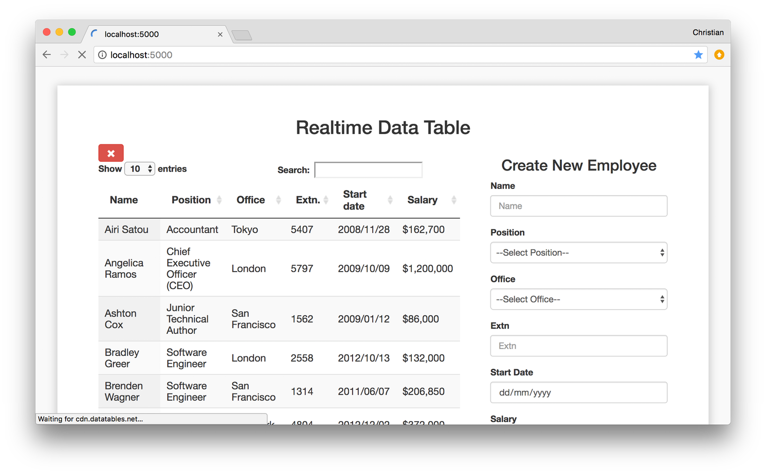 Build a realtime table with DataTables