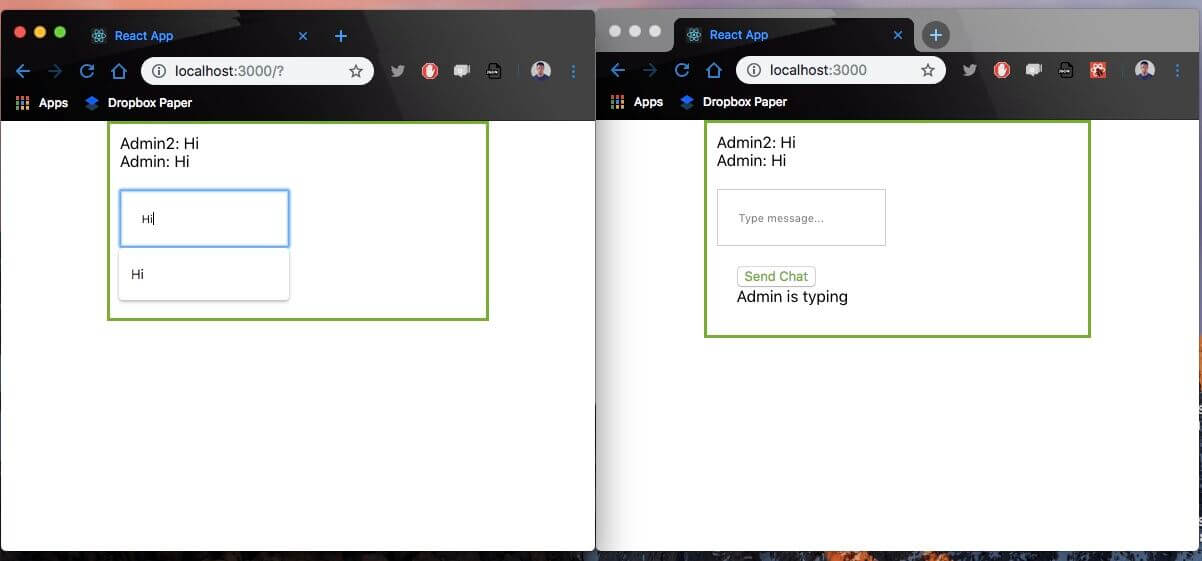 Build a chat app with a typing indicator using React js