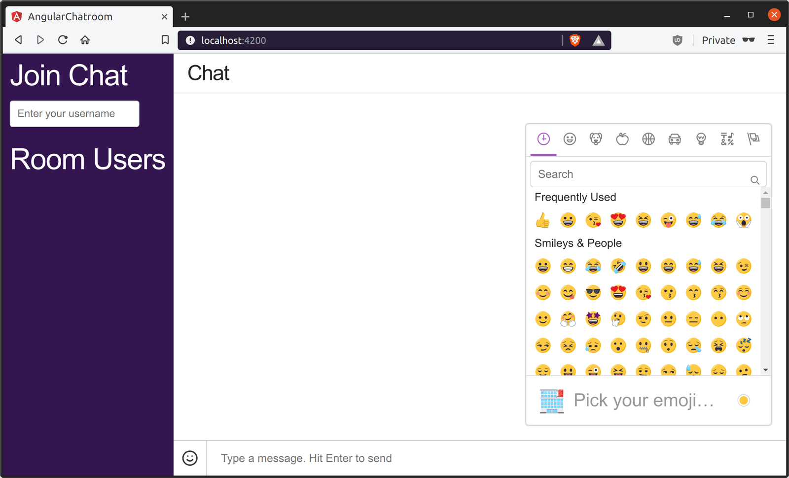 Add emoji, GIFs and link previews to an Angular 7 chatroom