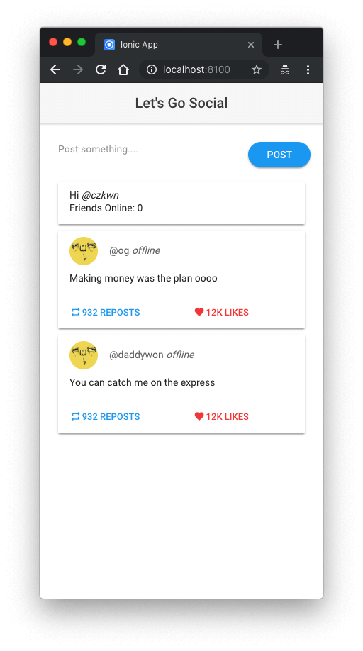 Building a social app with online presence using Ionic