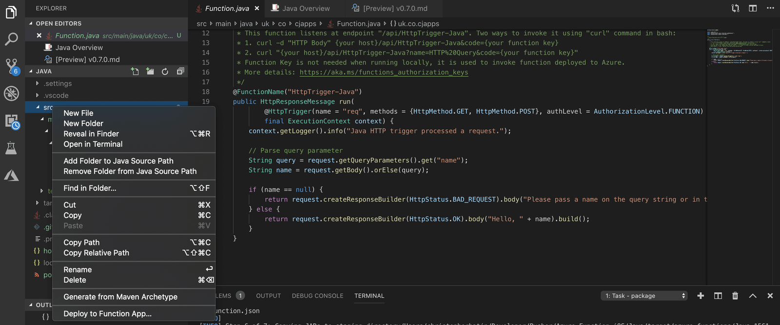 Azure function running Java for iOS notifications