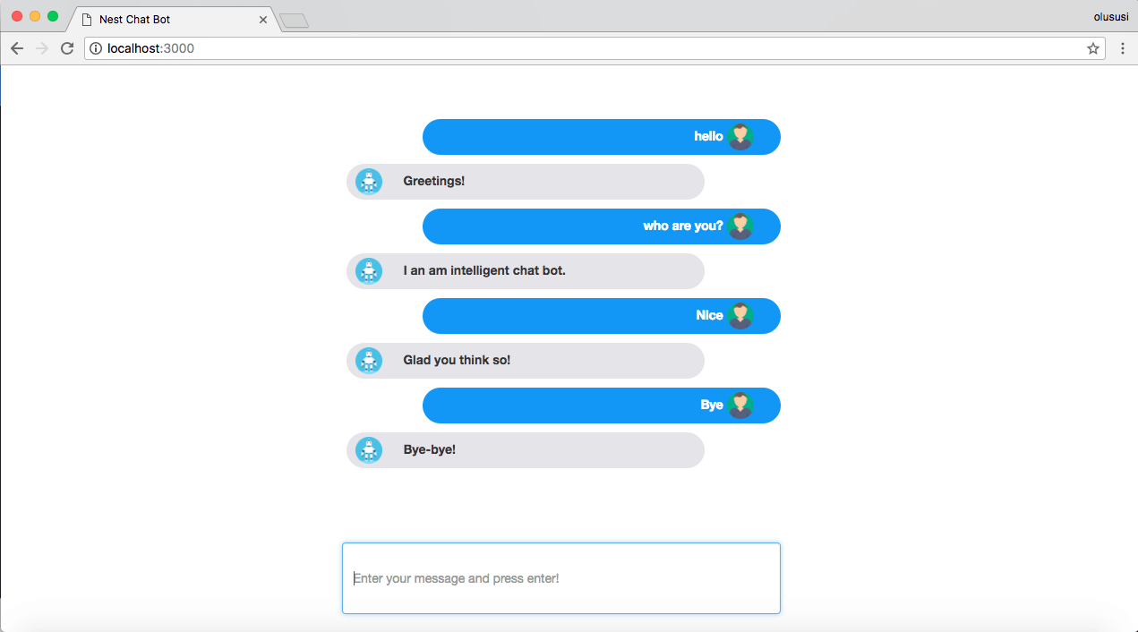 Building a chat bot with Nest js and Dialogflow
