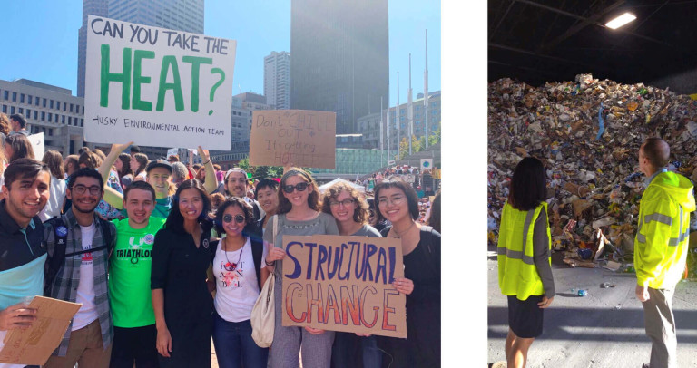 Left: Michelle Wu at a climate change rally surrounded by youth activists. Right: Michelle Wu tours warehouse of refuse with sanitation worker.