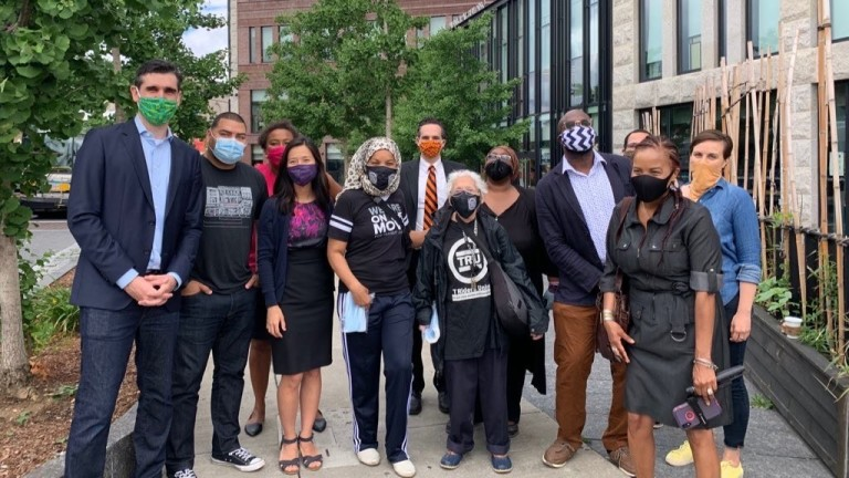 MIchelle Wu joins elected officials - Brookline Selectman Raul Fernandez, State Reps. NIka Elguardo & Tommy Vitolo, Boston Councilor Andrea Campbell - at a masked meeting with constituents at the Bolling Building.
