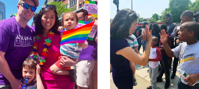 Left: Michelle Wu is joined at the Boston Pride parade by her husband, Conor, and her two sons, Blaise & Cass. Right: Michelle Wu high fives a young constituent at the Dorchester Day Parade.