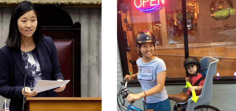 Left: Michelle Wu delivers a speech from the rostrum in the City Council chamber. Right: Michelle Wu bicycles by Village Sushi & Grill with her son in a child seat.