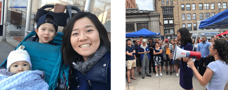 Left: Michelle Wu smiles next to her sons Cass & Blaise in a tandem stroller. Right: Michelle Wu speaks at a Free The T rally at the Park Street Station with constituents and other elected officials.