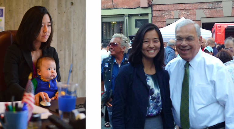 Left: Michelle Wu at her desk with her infant son in her lap. Right: Michelle Wu and late Mayor Thomas Menino stand together across from food trucks at a crowded Boston street fair.