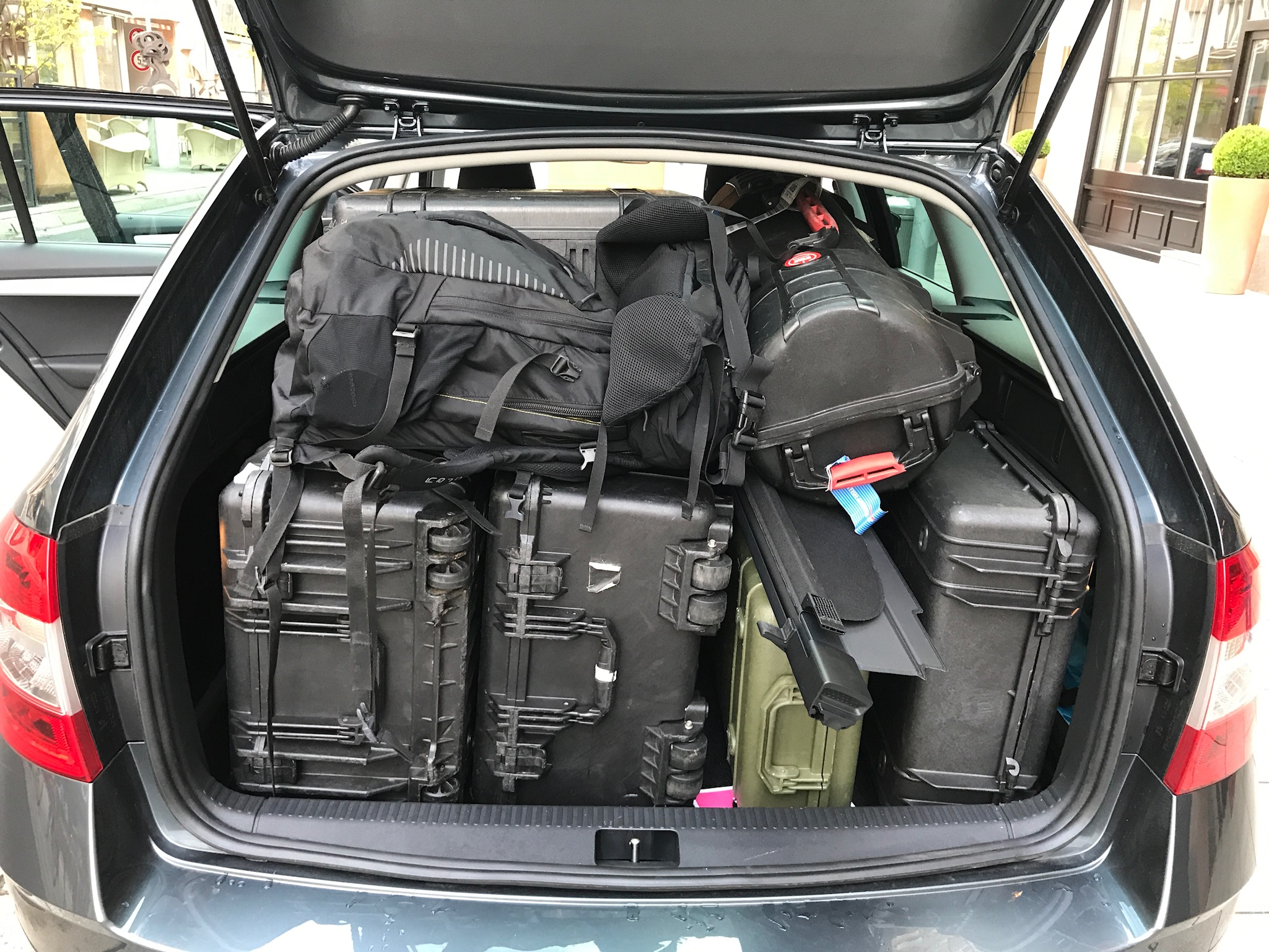 Production crews do not travel light.