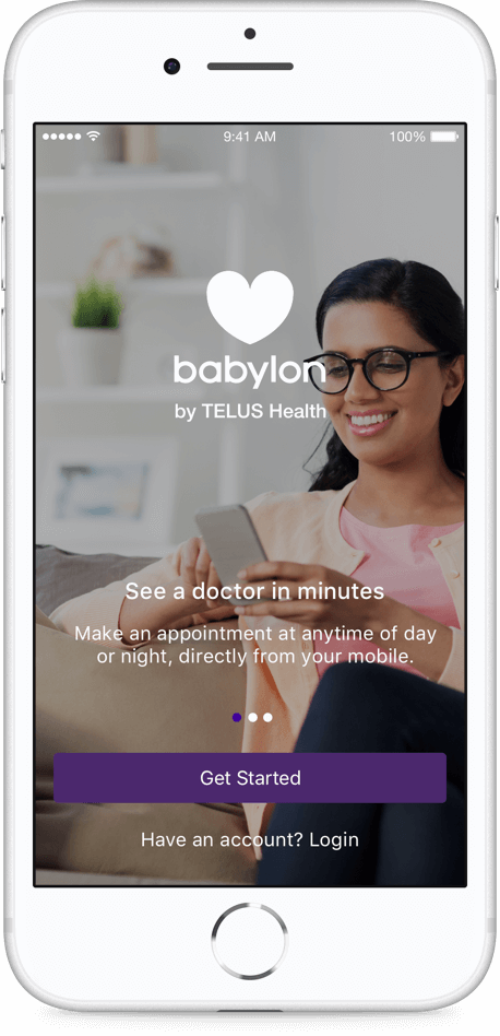 Preview of the main screen of the babylon app, a smiling woman on her phone