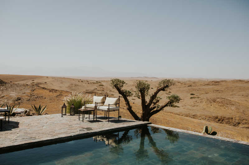 Swimming pool and amazing view in a Marrakech desert venue