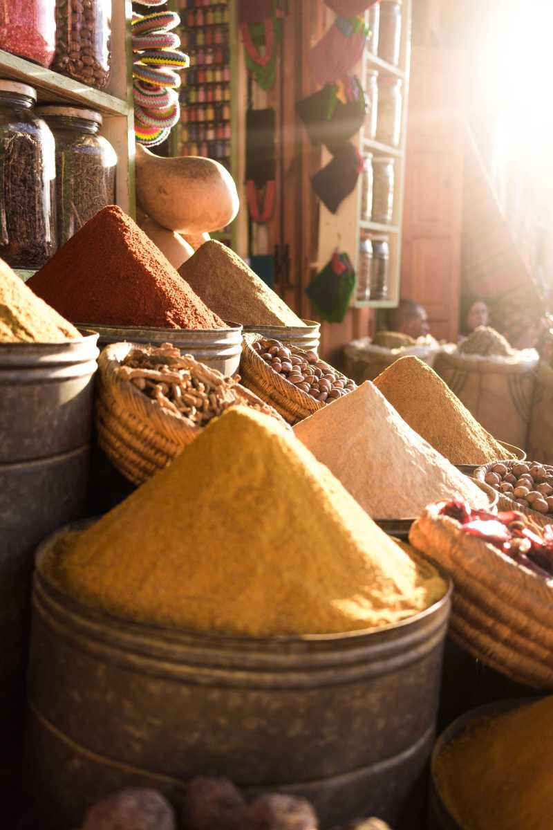 Moroccan spices in market