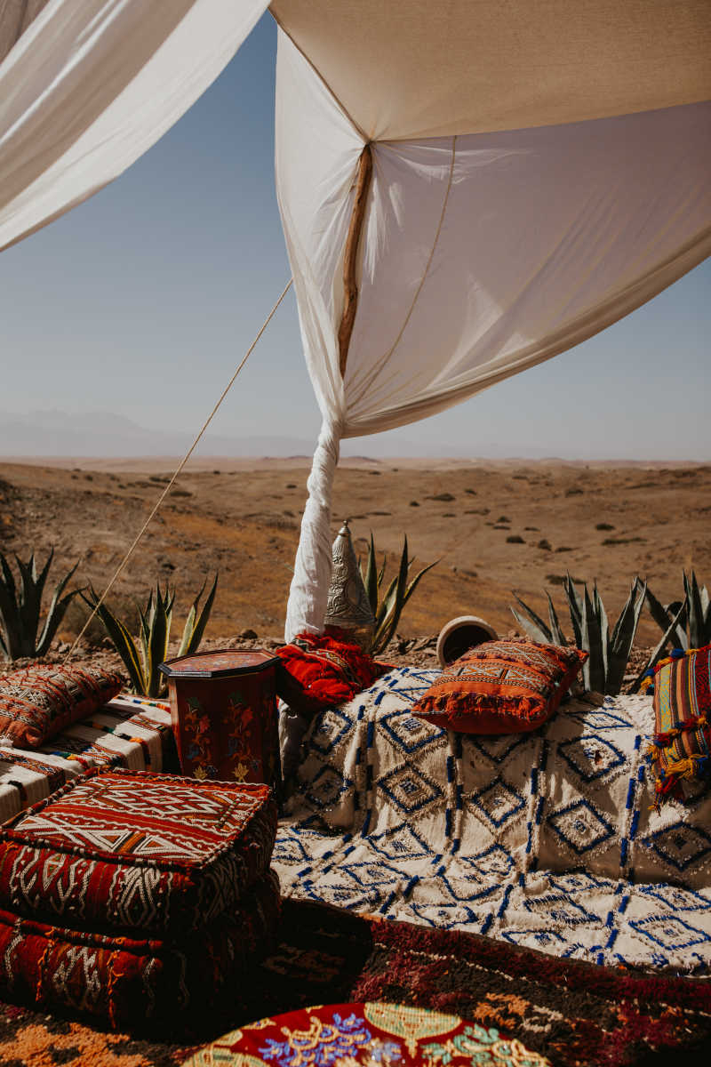 Traditional tent in moroccan desert