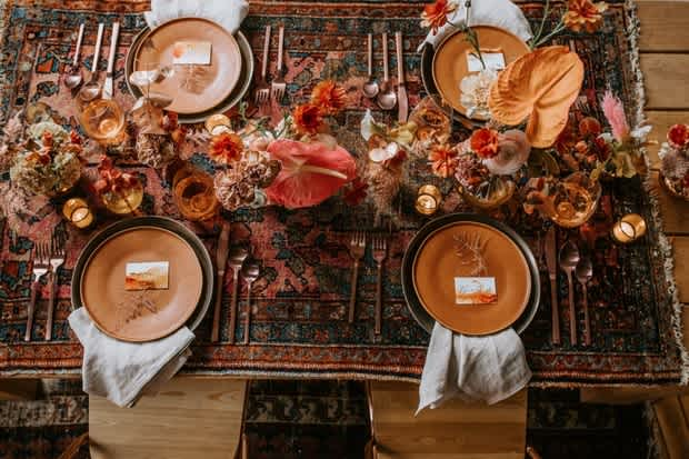 Elopement dinner table set up