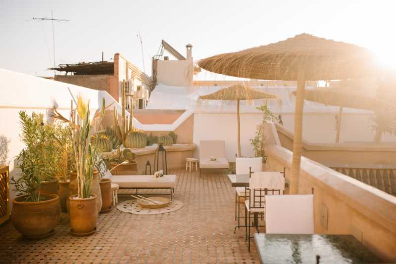 Riad le Pelerin rooftop at sunset