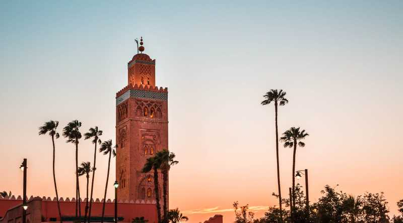 Kutobia Mosque at sunset, Marrakech, Morocco