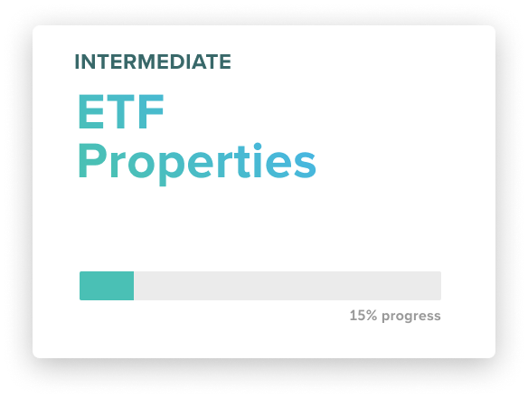 A card showing the completion state of the ETF course