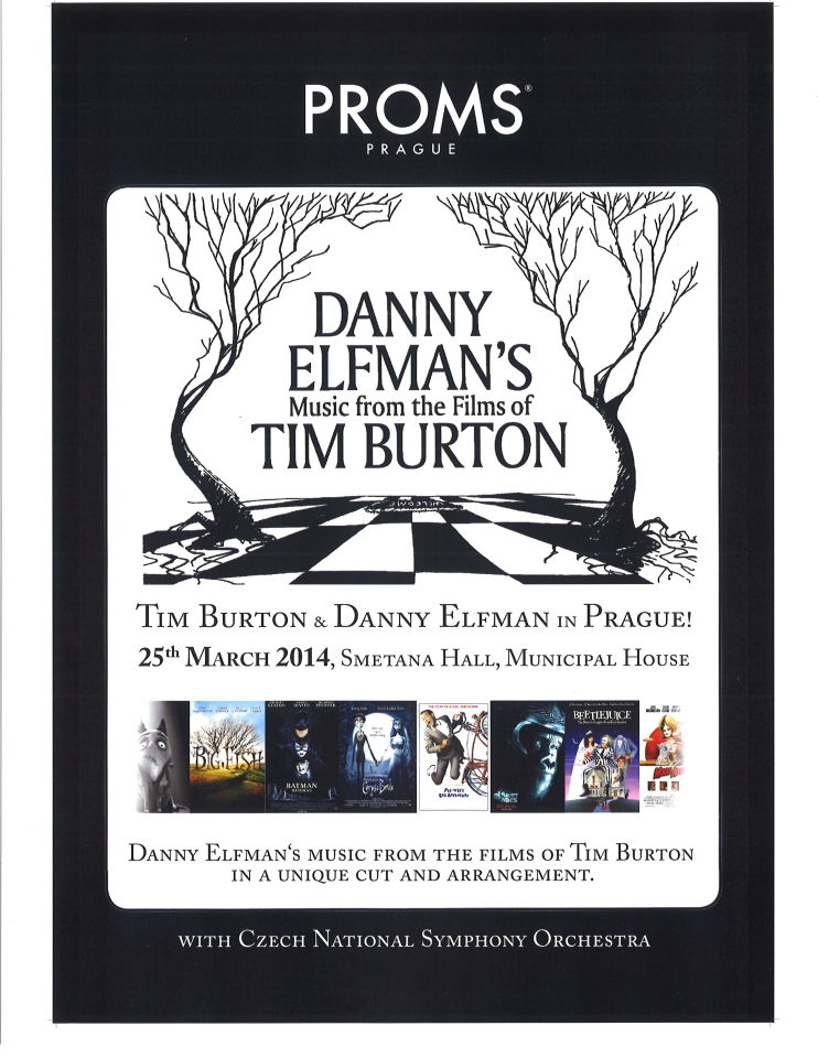 Danny Elfman's Music from the Films of Tim Burton | Smetana Hall concert Poster, March 2014