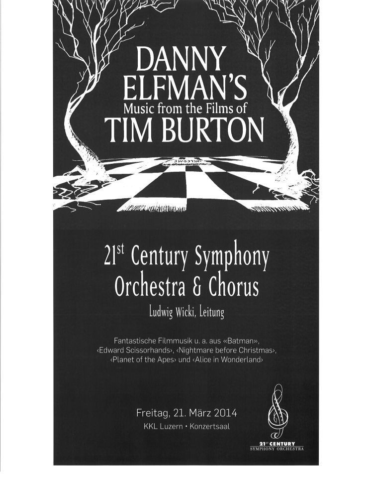 Danny Elfman's Music from the Films of Tim Burton | KKL Luzern Konzertsaal Concert Poster, March 2014