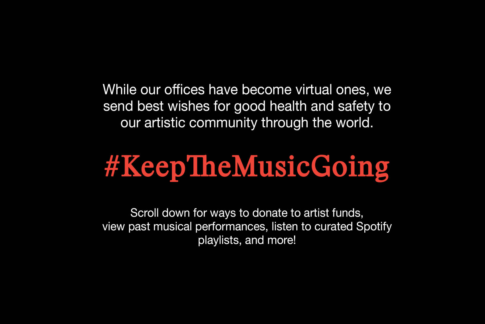 #KeepTheMusicGoing -