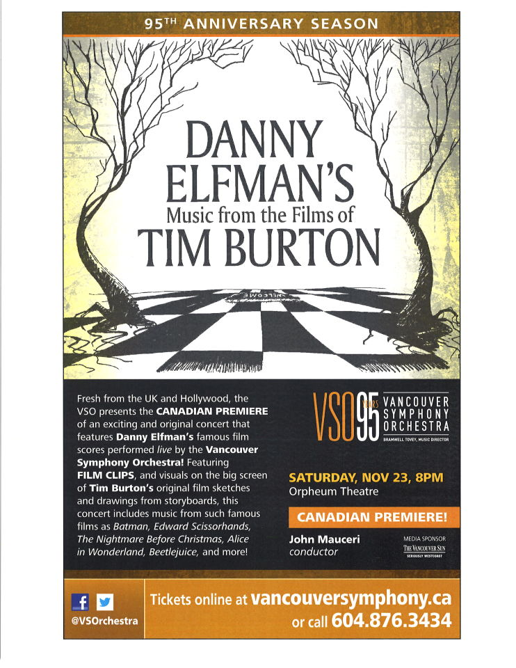 Danny Elfman's Music from the Films of Tim Burton | Orpheum Theatre Concert Poster, November 2013