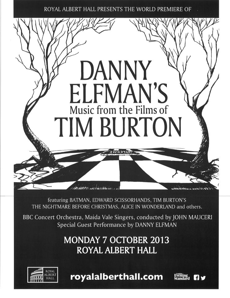 Danny Elfman's Music from the Films of Tim Burton | Royal Albert Hall Concert Poster, October 2013