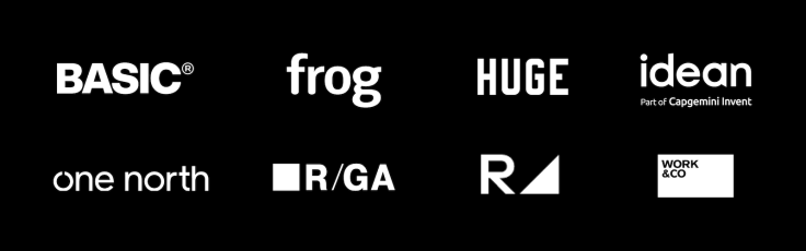 Design agency logos: Basic, frog, Huge, idean, one north, R/GA, Range, Work & Co