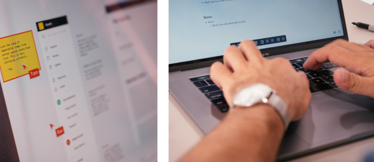 Left: Photo of a screen with a Figma file open on it. Right: Photo of hands typing on a laptop taking notes