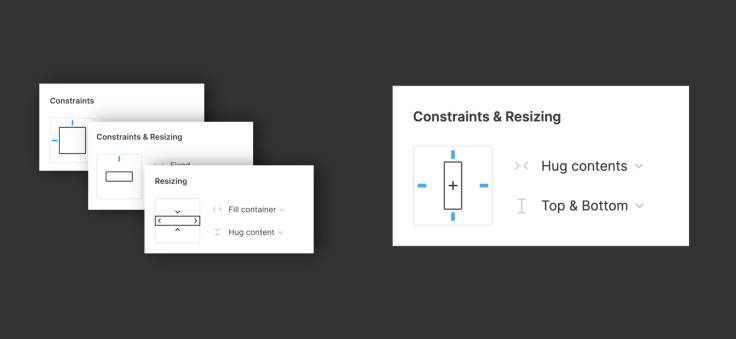 "On the left, there are separate panels for ""Constraints,"" ""Constraints & Resizing,"" and ""Resizing."" On the right, there's one panel that says ""Constraints & Resizing."""