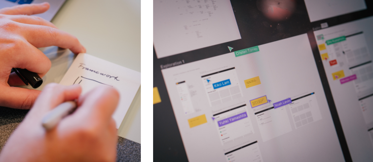 Left: Photos of hand sketching on paper. Right: Photo of computer screen with Figma file open.