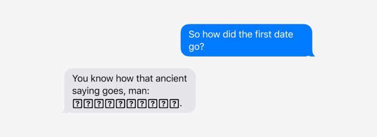 A screenshot of a messaging app where part of the response is replaced by boxes with question marks.