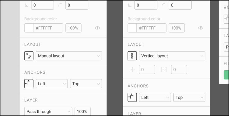 "Two side-by-side versions of the ""Layout"" section of the properties panel, one that says ""Manual layout,"" and one that says ""Vertical layout."""